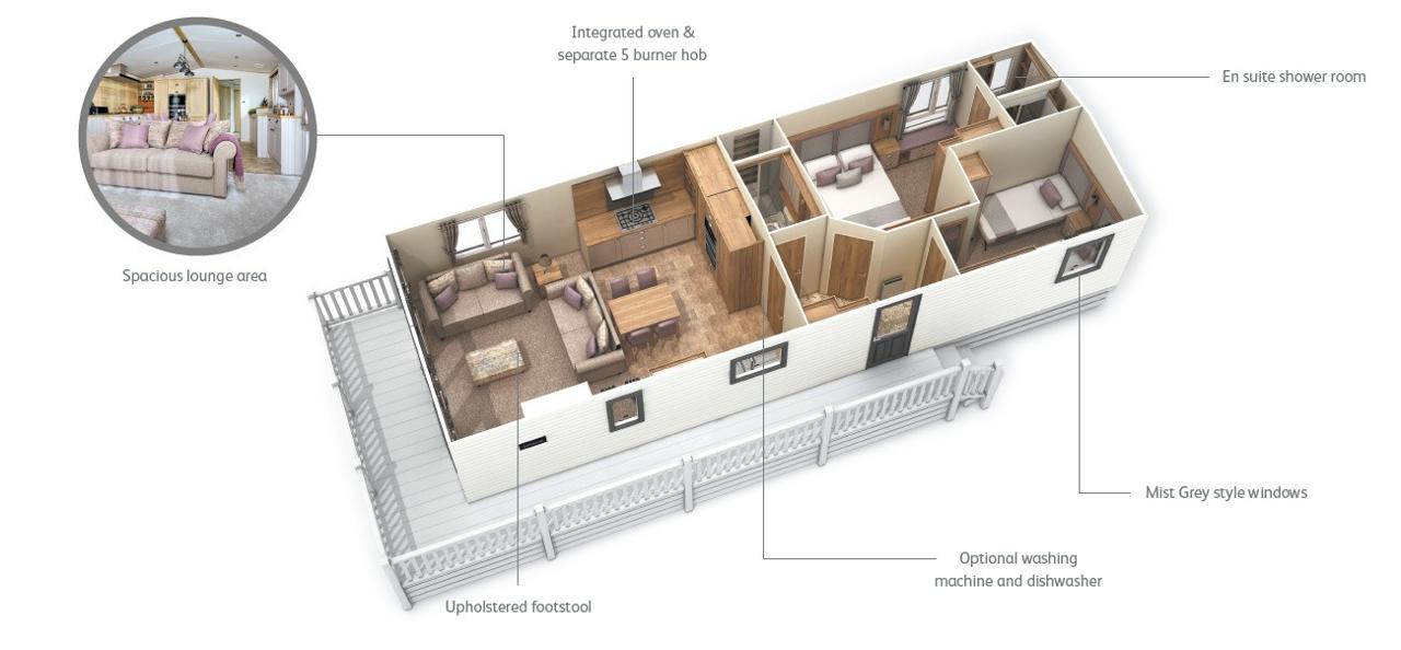 Floorplan of ABI Ambleside Premier 2019, Plas Coch Holiday Home Park, Anglesey, LL61 6EJ
