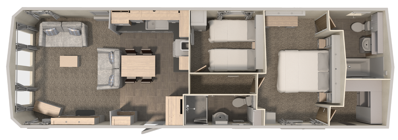 Floorplan of Willerby Sheraton Elite 2019, Plas Coch Holiday Home Park, Anglesey, LL61 6EJ